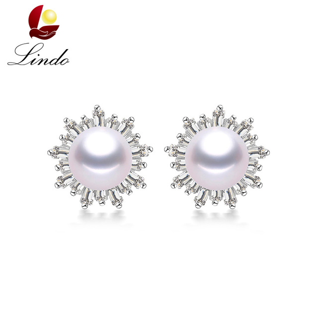 Luxury Solid Silver Stud Earrings For Women Elegant 5a Natural Freshwater Pearl Jewelry 925 Sterling