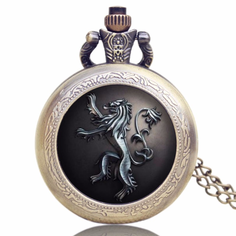 Bronze Game Of Thrones Lannister House Hear Me Roar Quartz Pocket Watch Vintage Pendant Chain For Men Women Relogio De Bolso