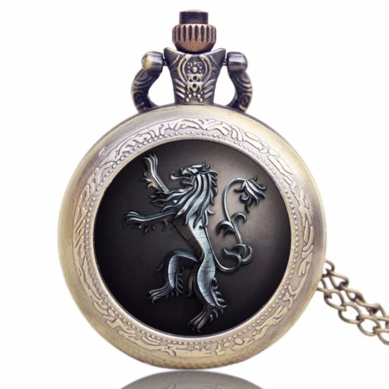 Bronze Game Of Thrones Lannister House Hear Me Roar Quartz Pocket Watch Vintage Pendant Chain For Men Women Relogio De Bolso