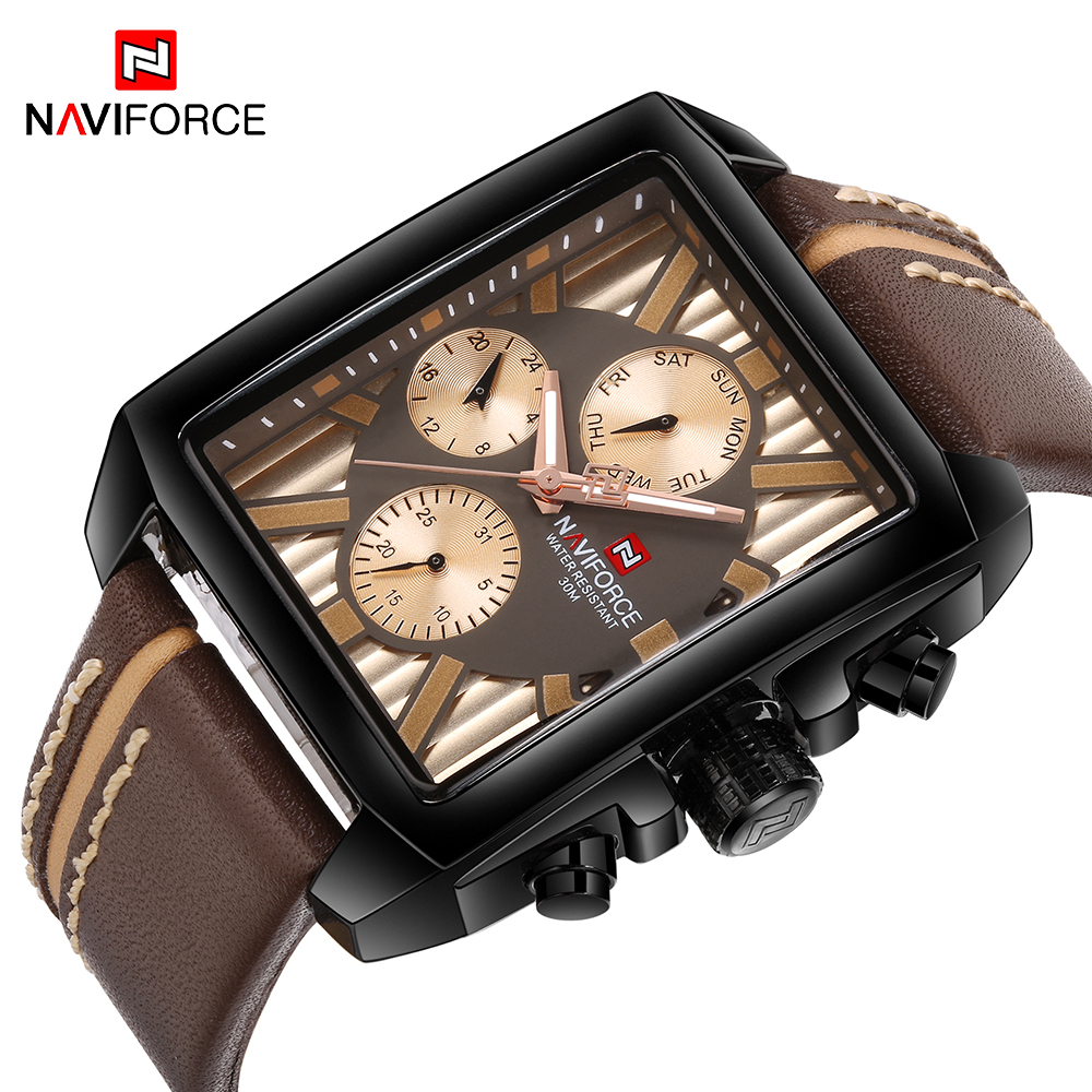 NAVIFORCE Top Luxury Brand Mens Watch Fashion Sport Quartz Watches Week 24-hour Display Rectangle Male Clock Relogio Masculino new mens watches top brand naviforce luxury men quartz watch casual sport military watches male leather clock relogio masculino