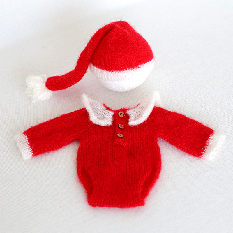 Newborn Christmas Pictures.Us 25 0 Baby Girl Christmas Hat Newborn Christmas Outfit Baby Santa Suit Crochet Newborn Santa Hat And Romper Photography Prop Pants In Clothing