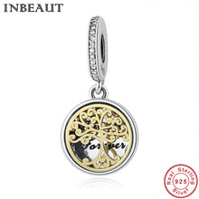INBEAUT Gold-color Family Life Tree Charm 925 Sterling Silver Necklace Pendant Anniversary Gift New Charm fit Pandora Bracelet
