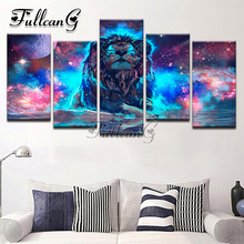 FULLCANG 5PCS Diy Full Square Diamond Embroidery Lion Constellation Painting Cross Stitch Mosaic Needlework Kits G321