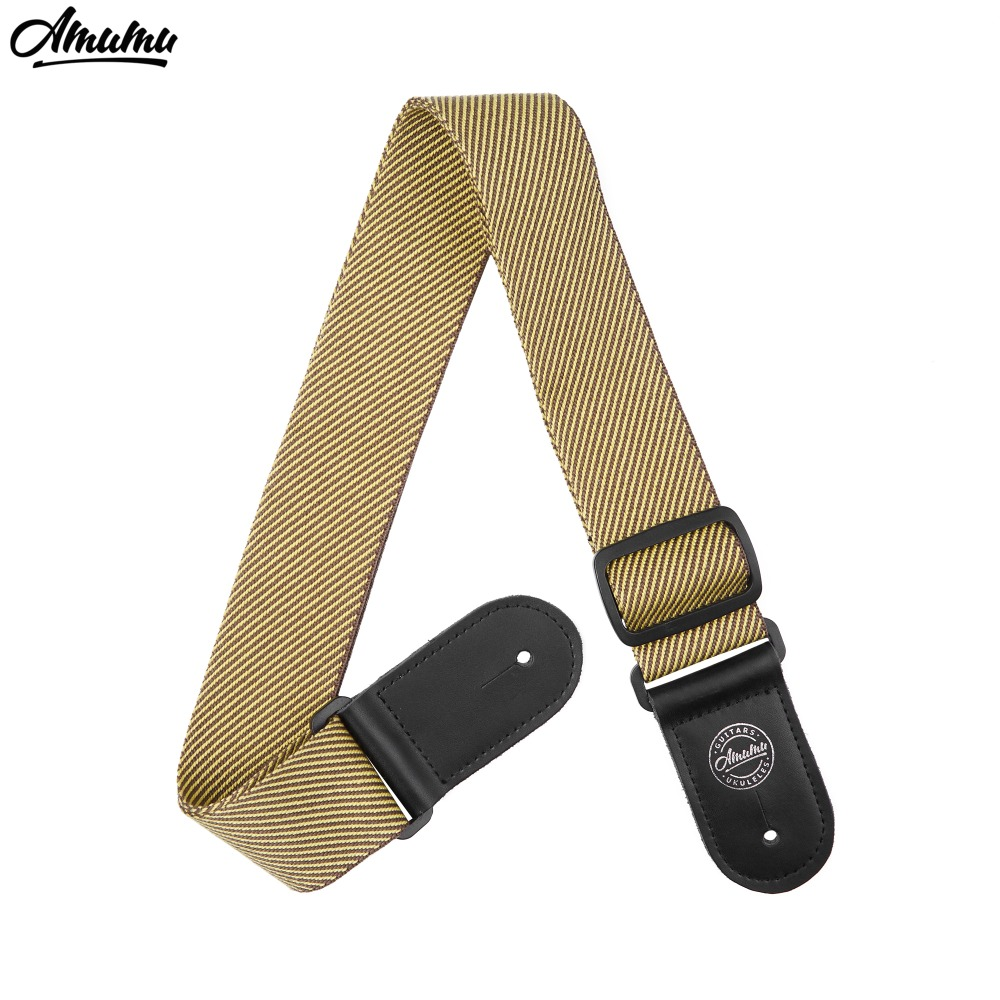 Amumu Yellow twill Cotton Guitar Strap with Leather Ends Guitar Belt  Strap S145-C amumu cotton guitar strap for acoustic electric guitar and bass solid color guitar belt adjustable 66 126 cm length s309