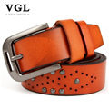 VGL Designer Vintage Rivet Belts Men High Quality Men's Genuine Leather Strap Male Casual Pin Buckle Belt for Jeans Men Ceinture