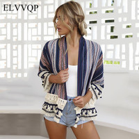 Casual Korean Patchwork Striped Cardigan Sweater Kimono Women Long Sleeve Knitted Crdigan Female Tricot 2018 Casaco Feminino NW4