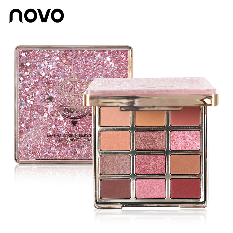 NOVO Beleza Cores Areia Movediça 12 Glitter Eyeshadow Makeup Palette Shimmer Matte Sombra Para Os Olhos Cosméticos À Prova D' Água