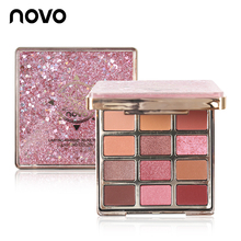 NOVO Beauty 12 Colors Quicksand Glitter Eyeshadow Makeup Palette Waterproof Shimmer Matte Eye Shadow Cosmetics