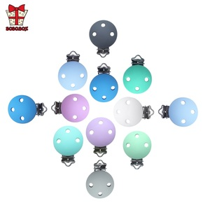 Image 1 - BOBO.BOX 10pcs Round Shaped Pacifier Clip Silicone Bead Baby Teether Soother Nursing Jewelry Toy Accessory Holder Teething Clips