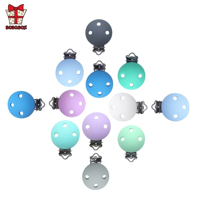 BOBO.BOX 10pcs Round Shaped Pacifier Clip Silicone Bead Baby Teether Soother Nursing Jewelry Toy Accessory Holder Teething Clips