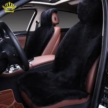 Favores de envío gratis de invierno de alta calidad pieza entera de largo 100% genuino de piel de lana de piel de oveja negro cubiertas del asiento de coche de CLASE 2