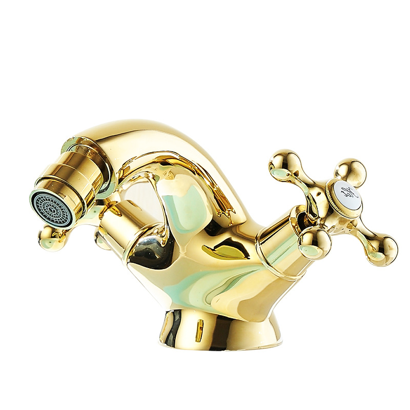 European gold-plated antique faucet gold American hot and cold water mixing faucet copper bathroom basin faucetEuropean gold-plated antique faucet gold American hot and cold water mixing faucet copper bathroom basin faucet
