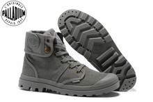 PALLADIUM Pallabrouse All Grey Sneakers Men High top Military Ankle Boots Canvas Casual Shoes Men Casual Shoes Eur Size 39 45