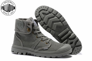 Image 1 - PALLADIUM Pallabrouse All Grey Sneakers Men High top Military Ankle Boots Canvas Casual Shoes Men Casual Shoes Eur Size 39 45