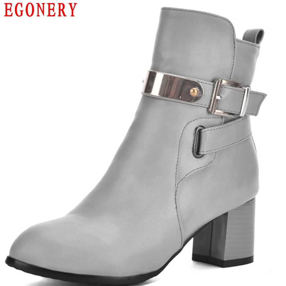 EGONERY Belt Faux Leather Zipper Square Heels Fashion Women Shoes Spring Autumn Ankle Boots Toe Size 43 egonery quality pointed toe ankle thick high heels womens boots spring autumn suede nubuck zipper ladies shoes plus size