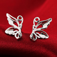 2017 fashion Cute Butterfly Earrings 925 Sterling-Silver-Jewelry For Women birthday gifts Brincos