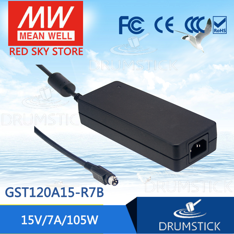 100% Original MEAN WELL GST120A15-R7B 15V 7A meanwell GST120A 15V 105W AC-DC High Reliability Industrial Adaptor [Real6] [sumger] mean well original gst120a15 r7b 15v 7a meanwell gst120a 15v 105w ac dc high reliability industrial adaptor
