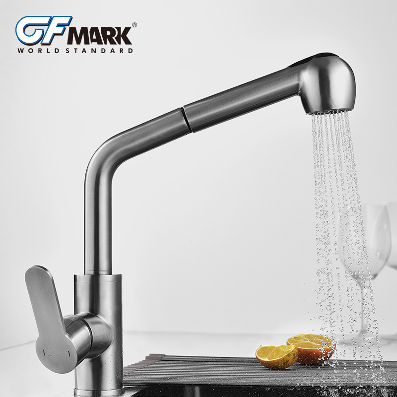 GFmark Pull Out Kitchen Faucet Taps Two Functions Water Outlet SUS304 Stainless Steel Kitchen Mixer Multifunction Crane FaucetGFmark Pull Out Kitchen Faucet Taps Two Functions Water Outlet SUS304 Stainless Steel Kitchen Mixer Multifunction Crane Faucet