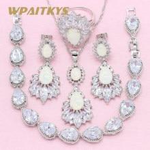 95d4960cdc37 Exquisita gota de agua blanco crear ópalo 925 Plata joyería conjuntos para  mujeres collar pendientes anillo pulsera caja libre