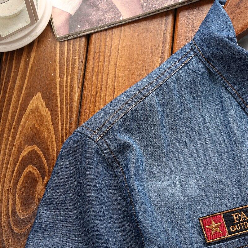 Image 4 - Los hombres de moda nuevo verano camisas de manga corta de mezclilla de hombres Casual de algodón de cuello Camisa Hombre Camisasmens denim shirtmale denim shirtdenim shirt -