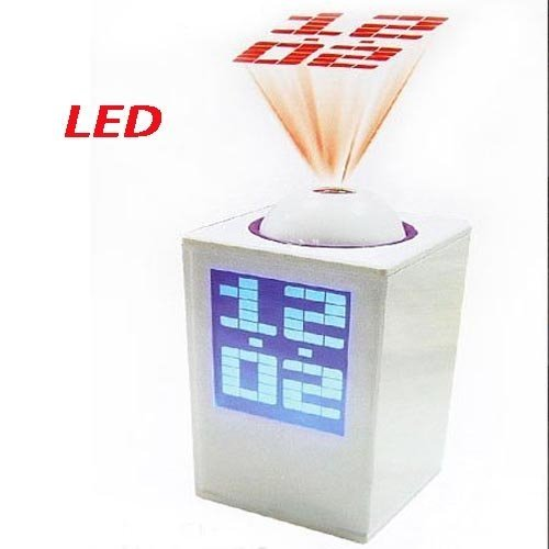 LED Projector Clock with LCD Backlight/Alarm/Famous Songs-White,black free shipping +drop shipping