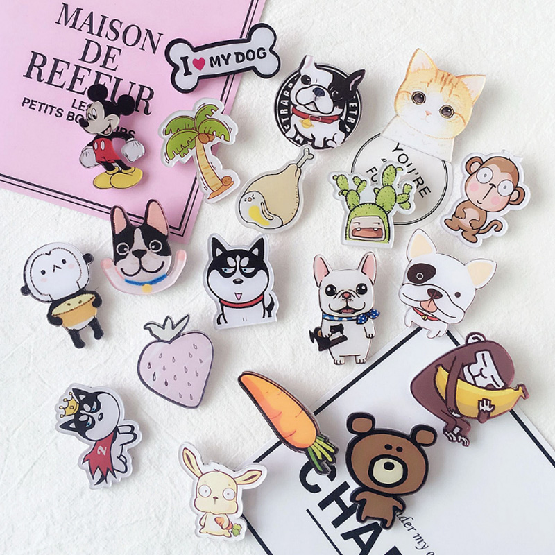 10pcs harajuku fashion brooch knapsack accessories cartoon animal dog yakeli emblem childrens prize badges decorations whimsy ...