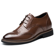 New England Men's Leather Shoes Style, Height Increasing Elevator Shoes in Calfskin Formal Brogue Oxfords Footwear