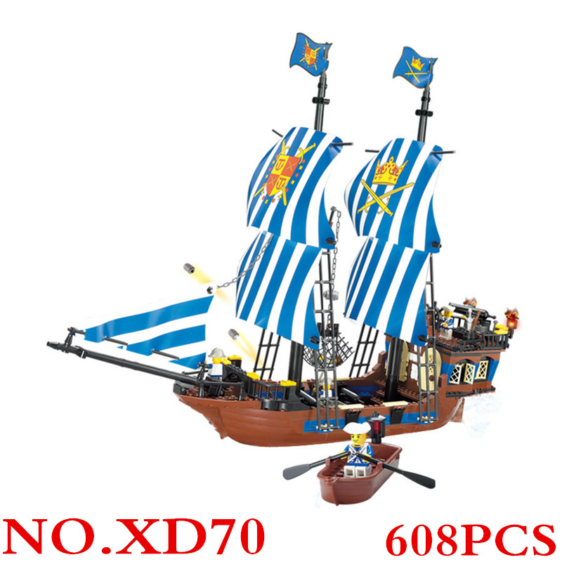 Pirate Ship Warships Model Building Kits Block Briks Toys 608pcs Compatible With Lepine Children Gift XD70 lepine 16008 cinderella princess castle 4080pcs model building block toy children christmas gift compatible 71040 girl lepine
