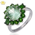 Hutang Natural Green Fluorite & Chrome Diopside Ring Solid 925 Sterling Silver For Women Mother's day Gift Gemstone Fine Jewelry