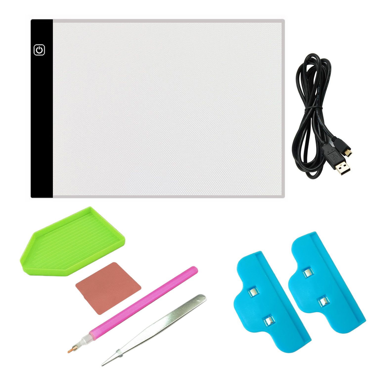 Diamond Painting Cross Stitch Embroidery Kit with A4 LED Light Tablet Board Pad Clips USB Cable Tray Stitch Pen Glue Tweezers вышитая картина rui cross stitch xr d0020 21 dmc ks