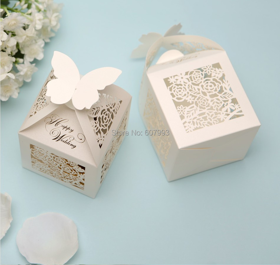 Wedding Favor Gift Boxes: Aliexpress.com : Buy Ivory Laser Cut Candy Gift Box For