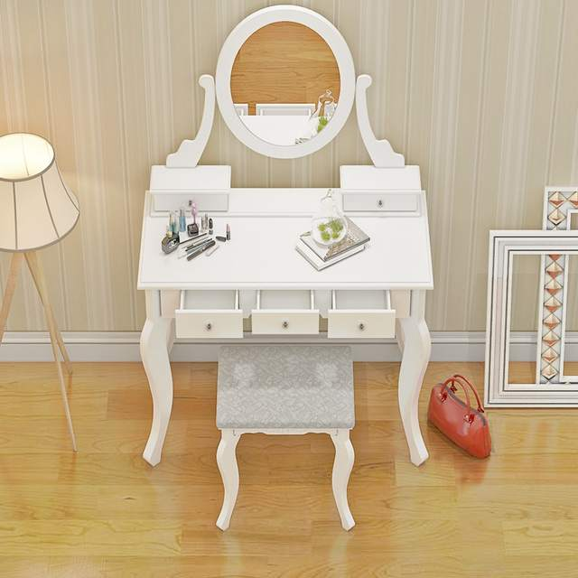 Online Shop Wooden Dressing Table Makeup Desk With Stool Oval Mirror