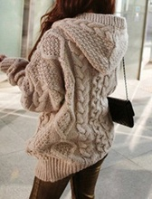 Hot Sale Women Knitted Hooded Cardigan Sweater Winter Autumn Warm Loose Outwear Tops CXZ