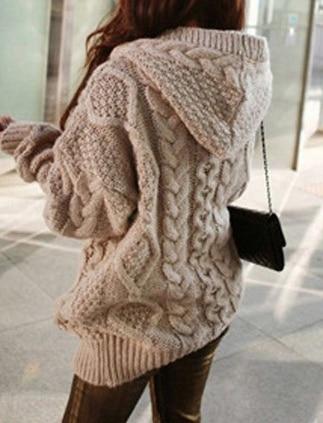 מכירה לוהטת נשים סרוג סלעית קרדיגן סוודר חורף סתיו חם Loose להאריך ימים יותר חולצות CXZ
