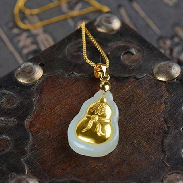Natural White HeTian Yu 100% Pure Solid 18 K Gold inlaid Lucky Cucurbit Blessing Pendant + Necklace + Certificate Fine Jewelry 4