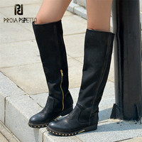 Prova Perfetto Black Women Knee High Boots Rivets Studded Autumn Women High Boots Genuine Leather Botas Mujer Rubber Shoes Woman