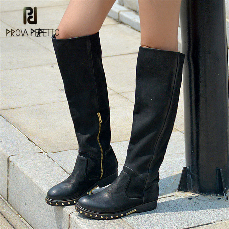 Prova Perfetto Black Women Knee High Boots Rivets Studded Autumn Women High Boots Genuine Leather Botas Mujer Rubber Shoes Woman prova perfetto yellow women mid calf boots fashion rivets studded riding boots lace up flat shoes woman platform botas militares