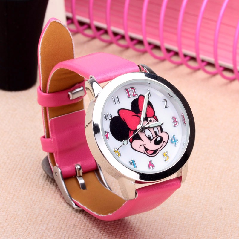Drop shipping Cartoon Beautiful girl Minnie mouse style Color number dial children students girl's leather quartz watch(China)