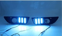 eOsuns led drl daytime running light +fog lamp for Mitsubishi Lancer ex 2010 2012 with yellow turn signals and blue night light