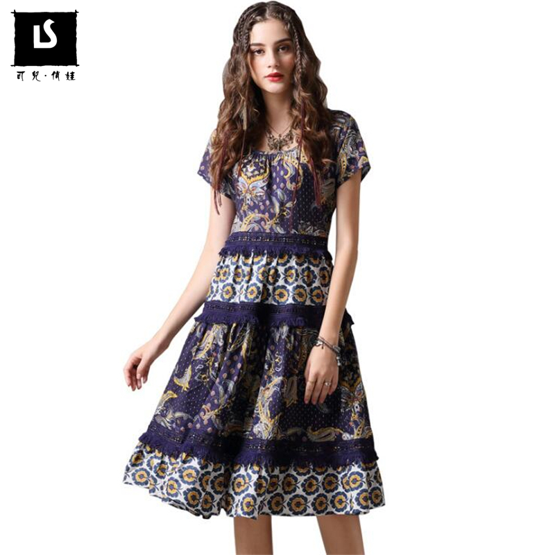 New Arrive Retro Lace Splice Dress Vestidos Women Fashion Casual Cotton Dress Summer Vintage Printing Party