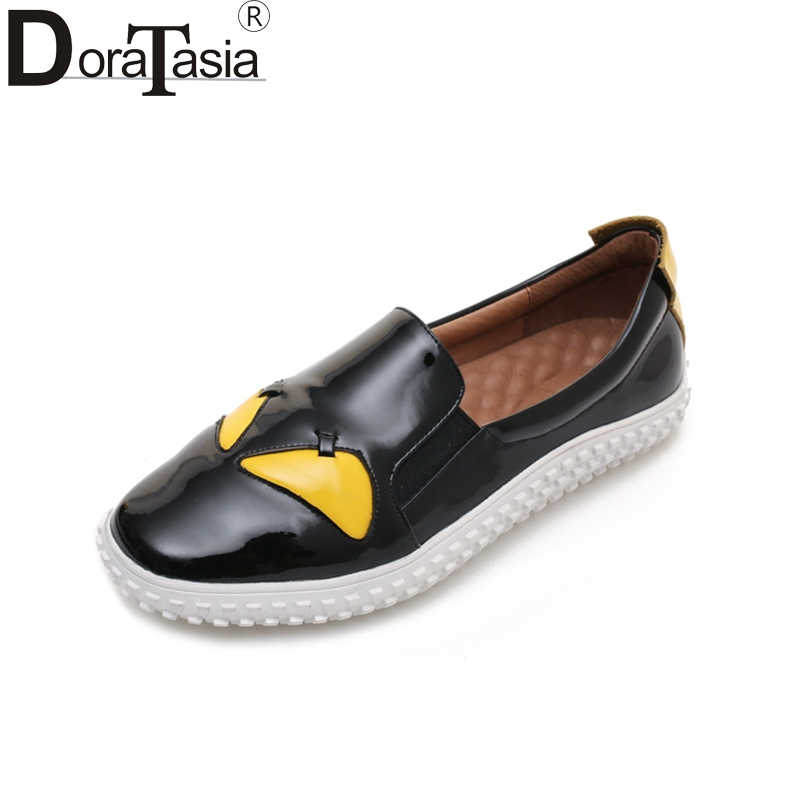 DoraTasia New 2018 Genuine Leather Comfortable Women Shoes Women Mixed Colors Platform Casual Cartoon Summer Loafers Flats 2017 fashion women shoes genuine leather loafers women mixed colors casual shoes handmade soft comfortable shoes women flats