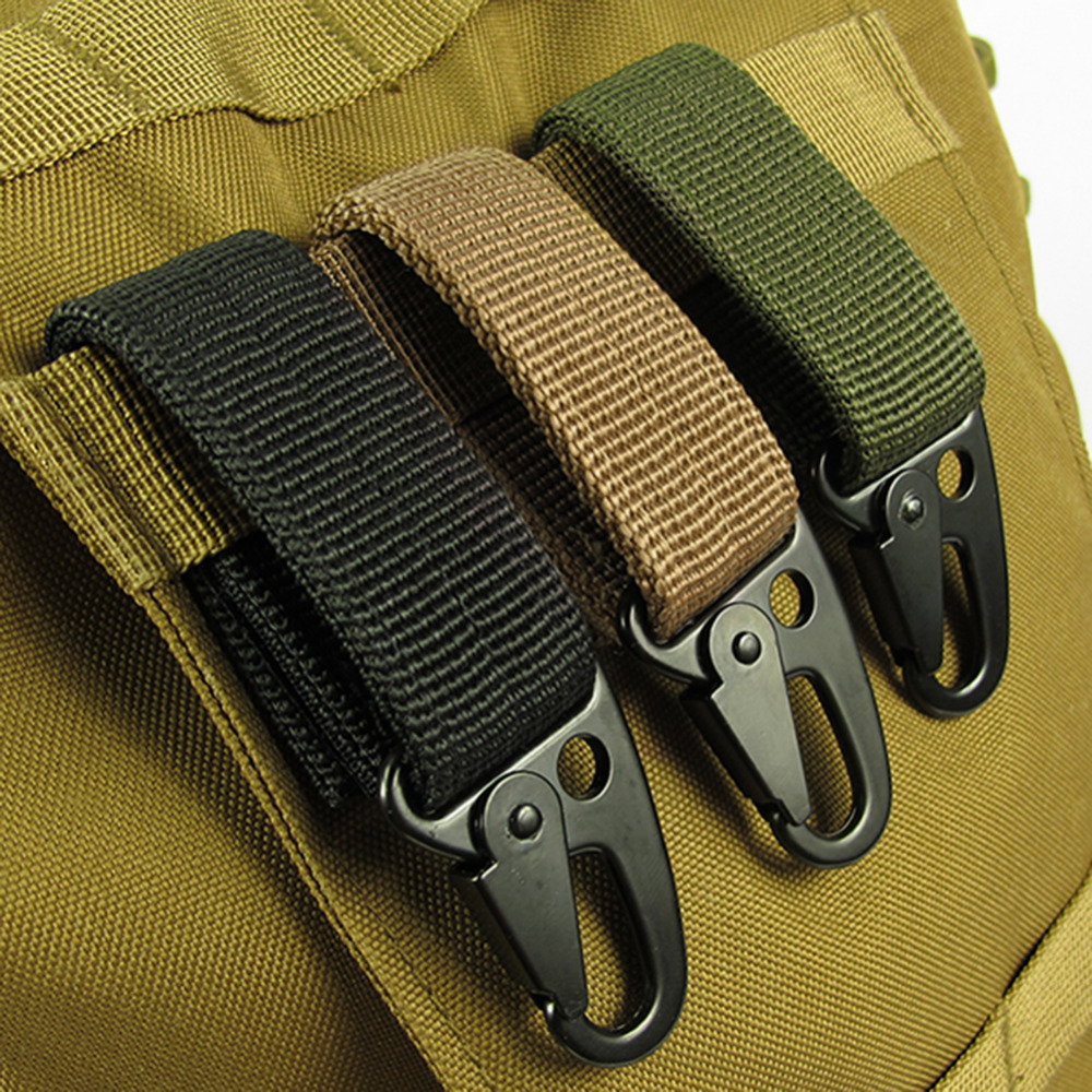 все цены на Outdoor Camping Military Tactical Nylon Belt Metal Hanging Carabiner Backpack Hook Clasp Survival Gear Keychain outdoor Tools онлайн
