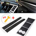 Carbon Fiber Car Center Console Dashboard Vinyl Wrap Stickers Set Voor Tesla Model 3 Dashboard Bekerhouder Sticker