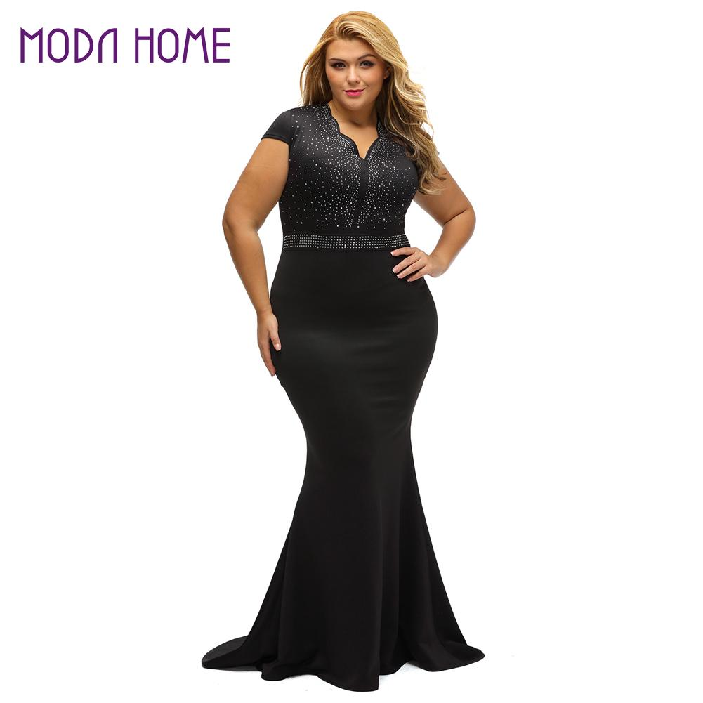 2018 Summer Women Plus Size Dress Rhinestone Scalloped V Neck High ...