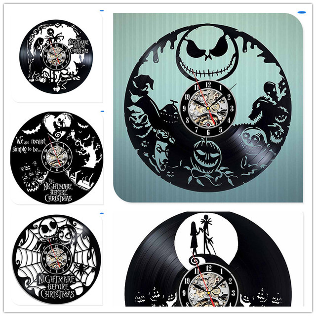 Halloween Skellington Black Vinyl CD 3D Wall Clocks the Night Mare Before Christmas Decoration Crafts for Home