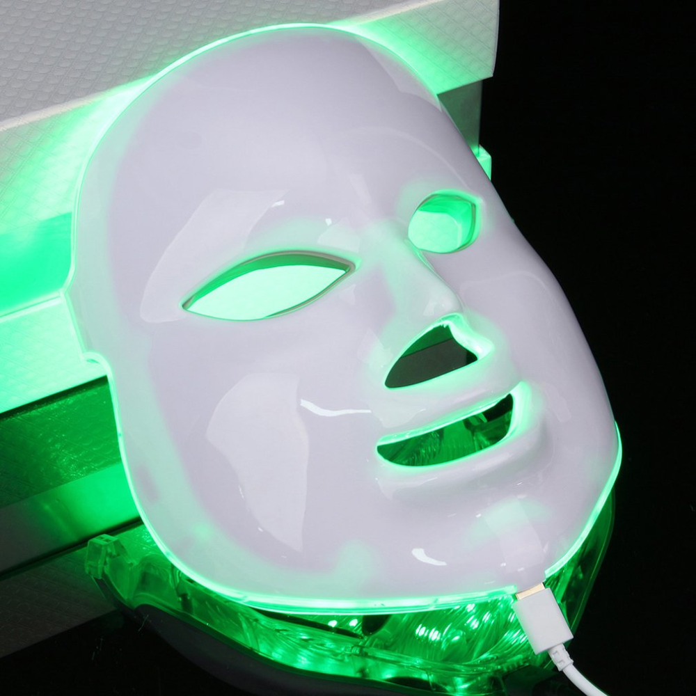 7 Color Light Photon PDT LED Facial Mask Electric Face Massage Skin Care Rejuvenation Therapy Anti-aging Promote Cells EU Plug free shipping 3mhz ultrasonic ultrasound facial skin lift anti aging photon led therapy care
