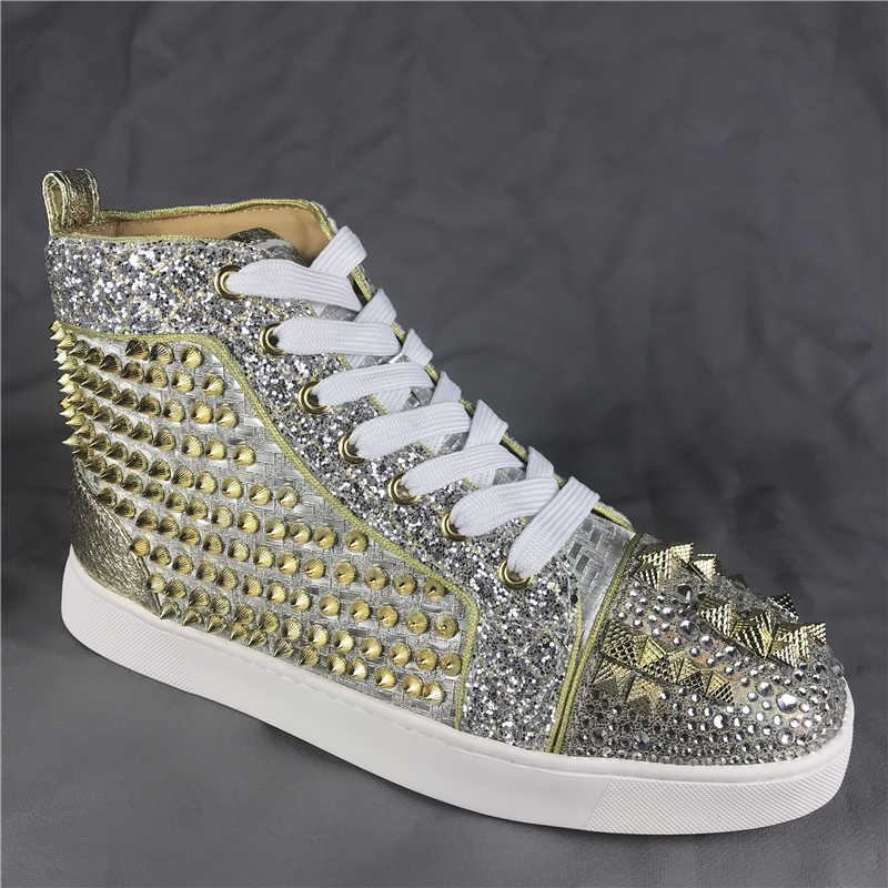 Men s Spike Gold Fashion Shoes Sneakers High top Flat Red bottom Trainers High quality F