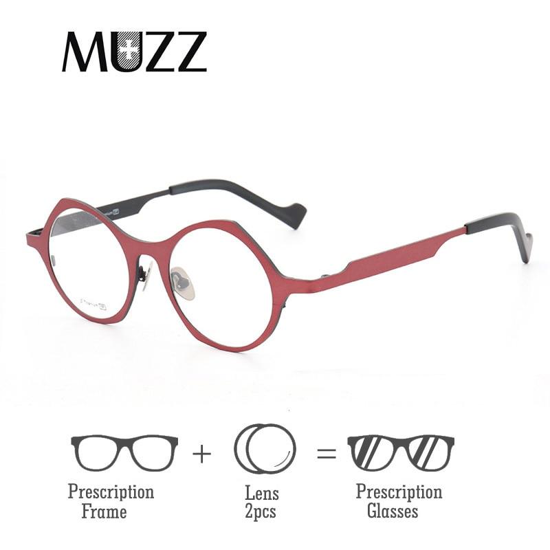 Damenbrillen Bekleidung Zubehör RüCksichtsvoll Unisex Reinem Titan Brillen Objektiv Frauen Optische Unregelmäßigen Vollrand Hyperopie Rahmen Hohe Myopie Brillen Online Shop