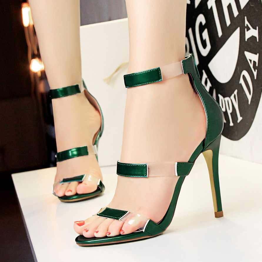 cf736a68566 2018 Women Classic 10cm High Heels Fetish Transparent Pink Sandals Female  Gladiator Summer PVC Shoes Lady Sexy Green Strap Pumps