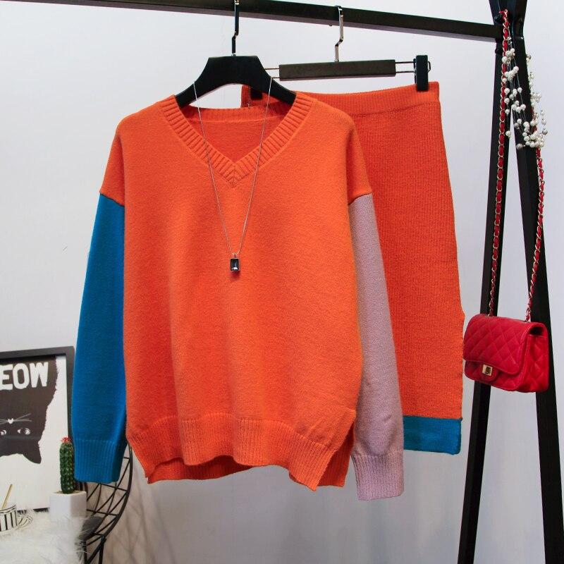 Et Automne Orange Jupes Moitié Chandail D'hiver C870 Coréenne Jupe Deux Tricot rose Paquet V Nouvelle 2018 Col Lâche Hanche En Ensembles Pièces Femmes Dame nqwCBfzI8x